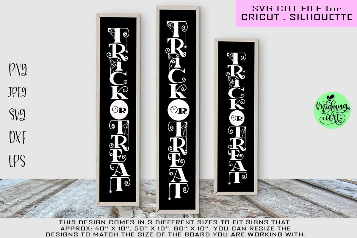 Trick or treat svg, halloween wood sign svg example image 1