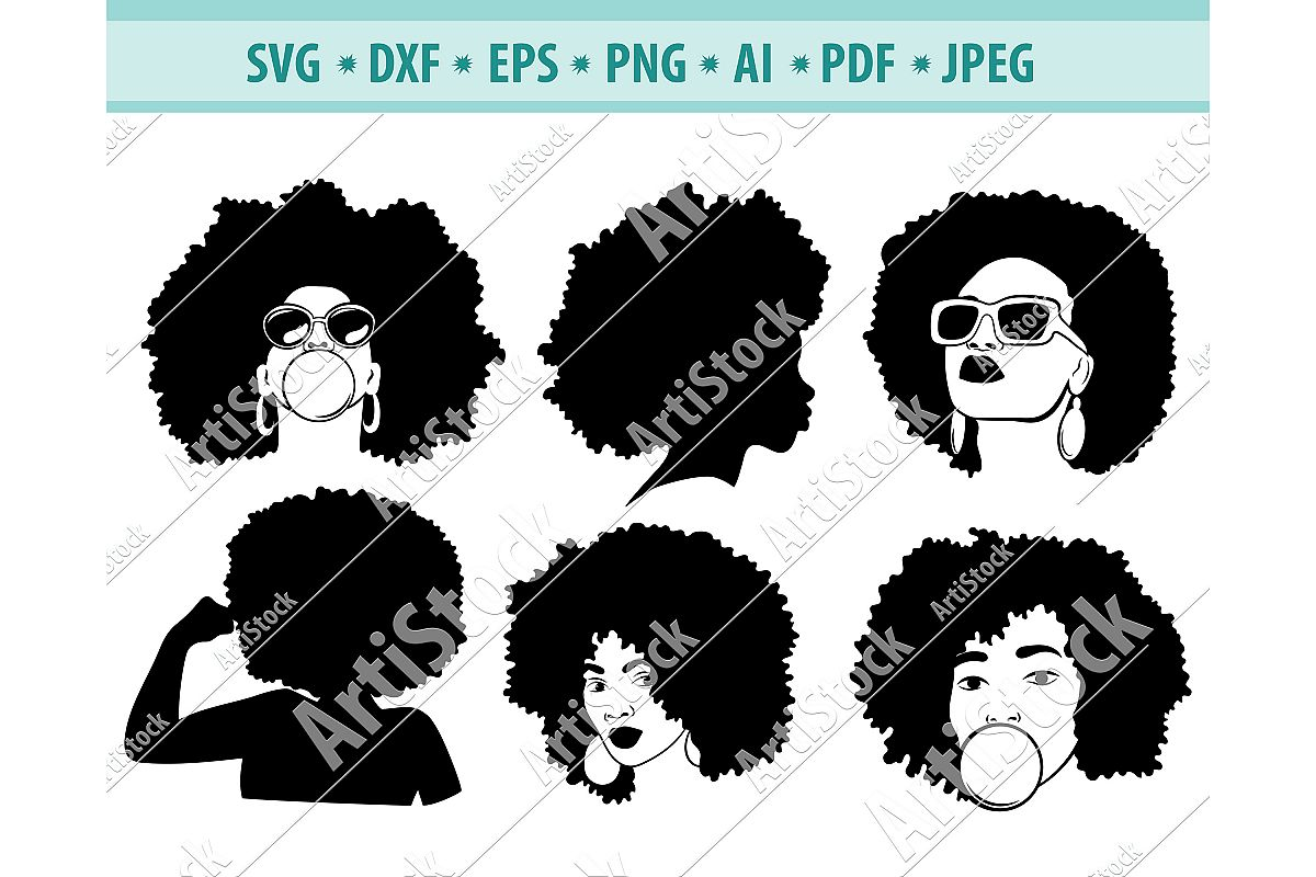 Afro hairstyles SVG, Black woman Png, Dreadlocks Dxf, Eps example image 1