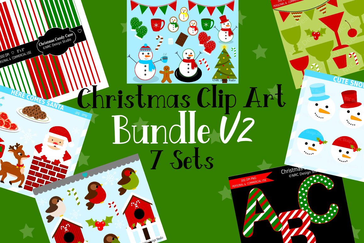Christmas Clipart Graphics Bundle V2, Illustrations, Clipart example image 1