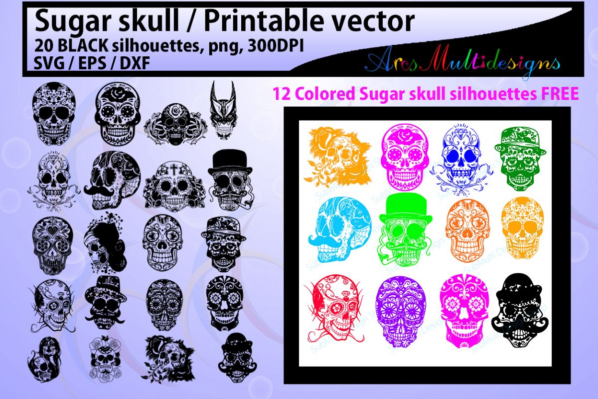 sugar skull silhouette / 20 sugar skull / sugar skull SVG / EPS /Dxf / vector skull / PNG /colored / Hq / colored skull / silhouette svg example image 1
