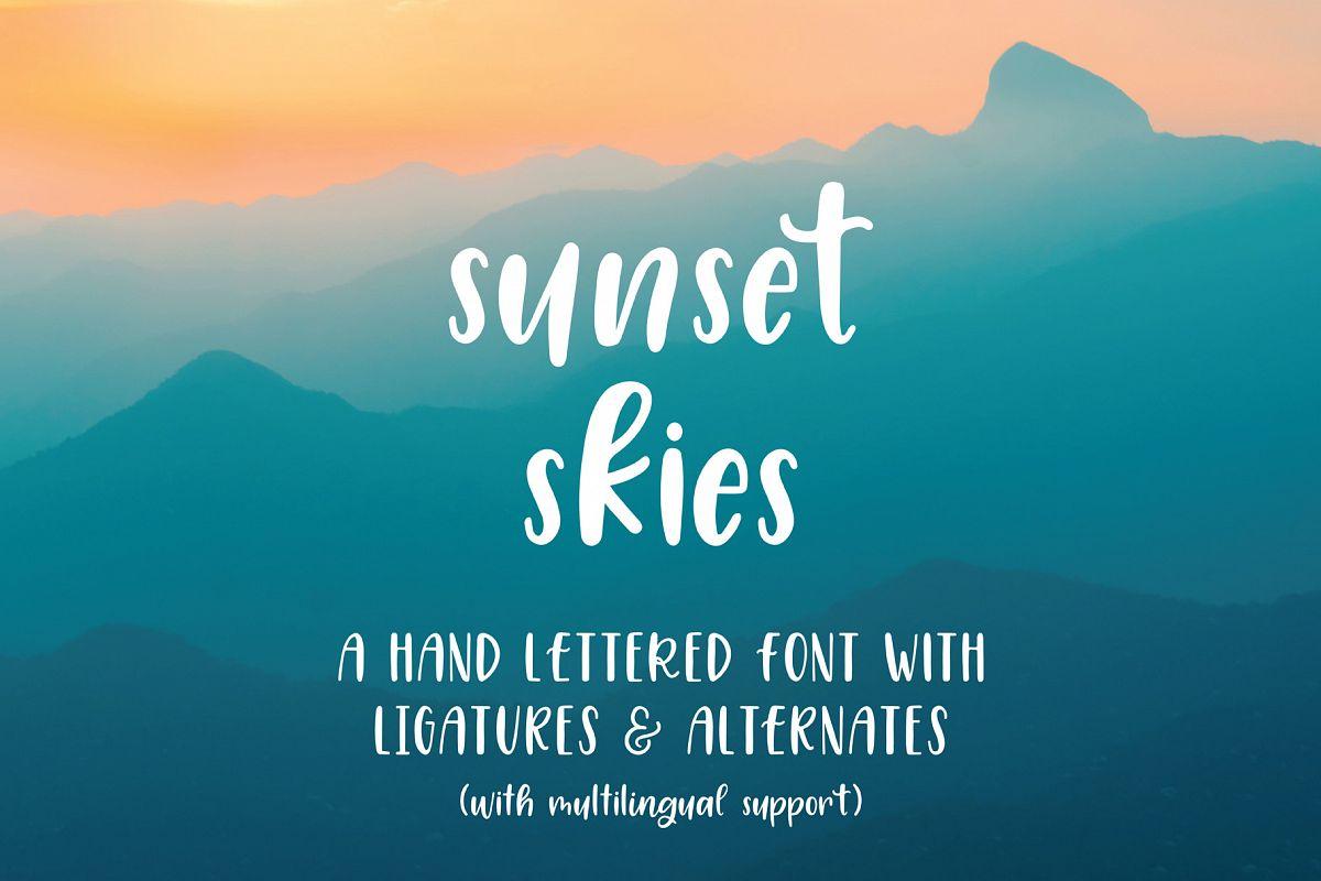 Sunset Skies Handwritten Sans Serif Font example image 1