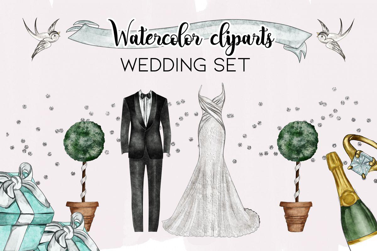 Watercolor Wedding Png set example image 1