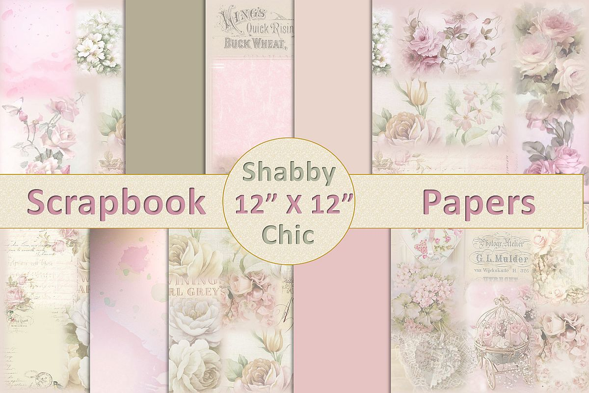 Vintage Shabby Chic Scrapbook Paper 12 x 12 example image 1