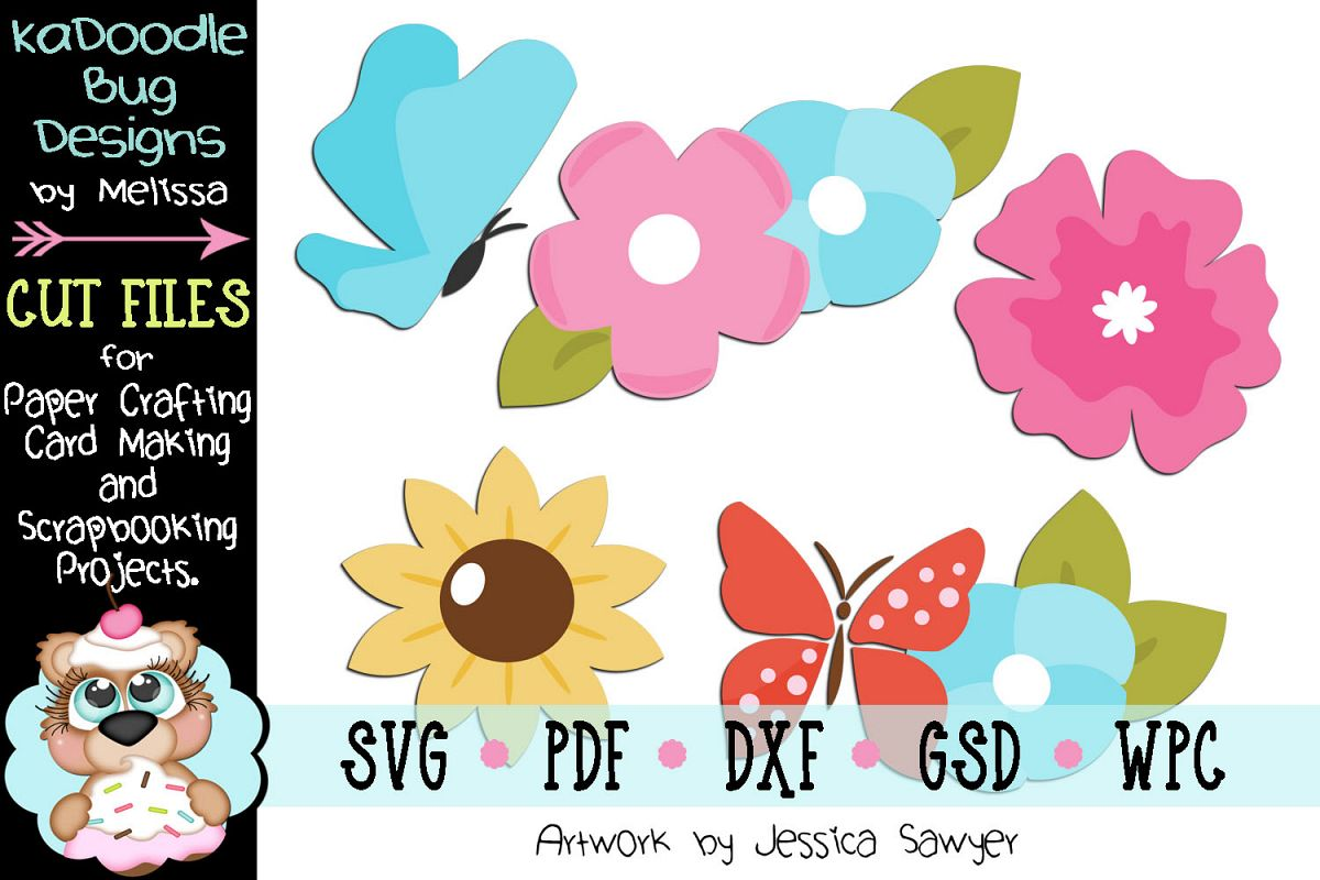 Pretty Flowers Butterflies Cut File - SVG PDF DXF GSD WPC example image 1