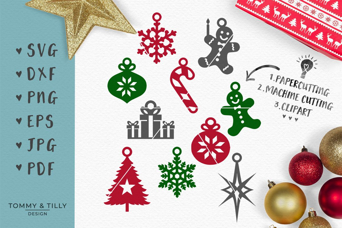 christmas hanging decorations svg eps dxf png pdf jpg example image 1 - Christmas Hanging Decorations
