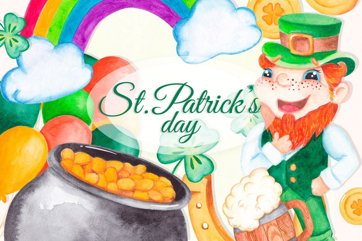 St Patrick's day clipart Watercolor graphics example image 1