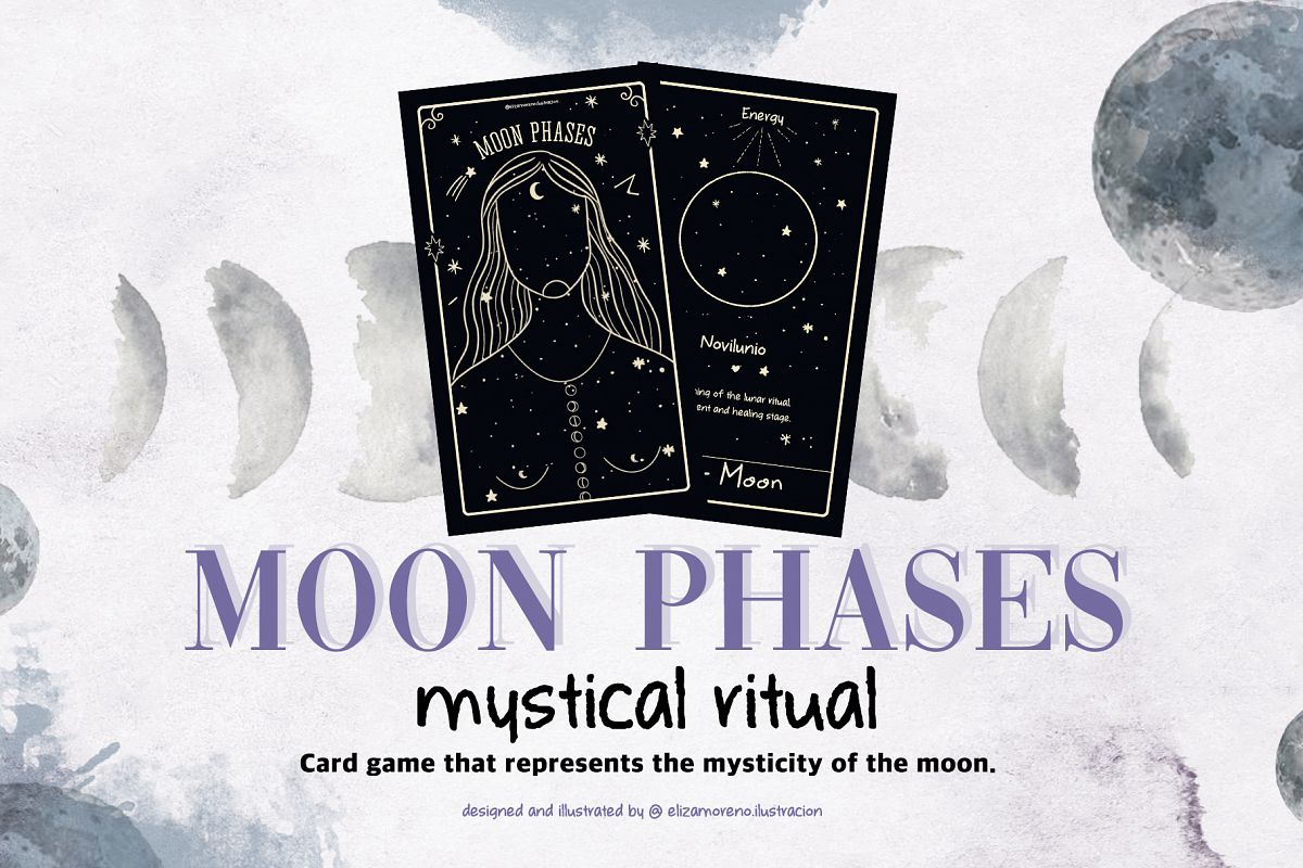 Moon phases mystical ritual cards example image 1