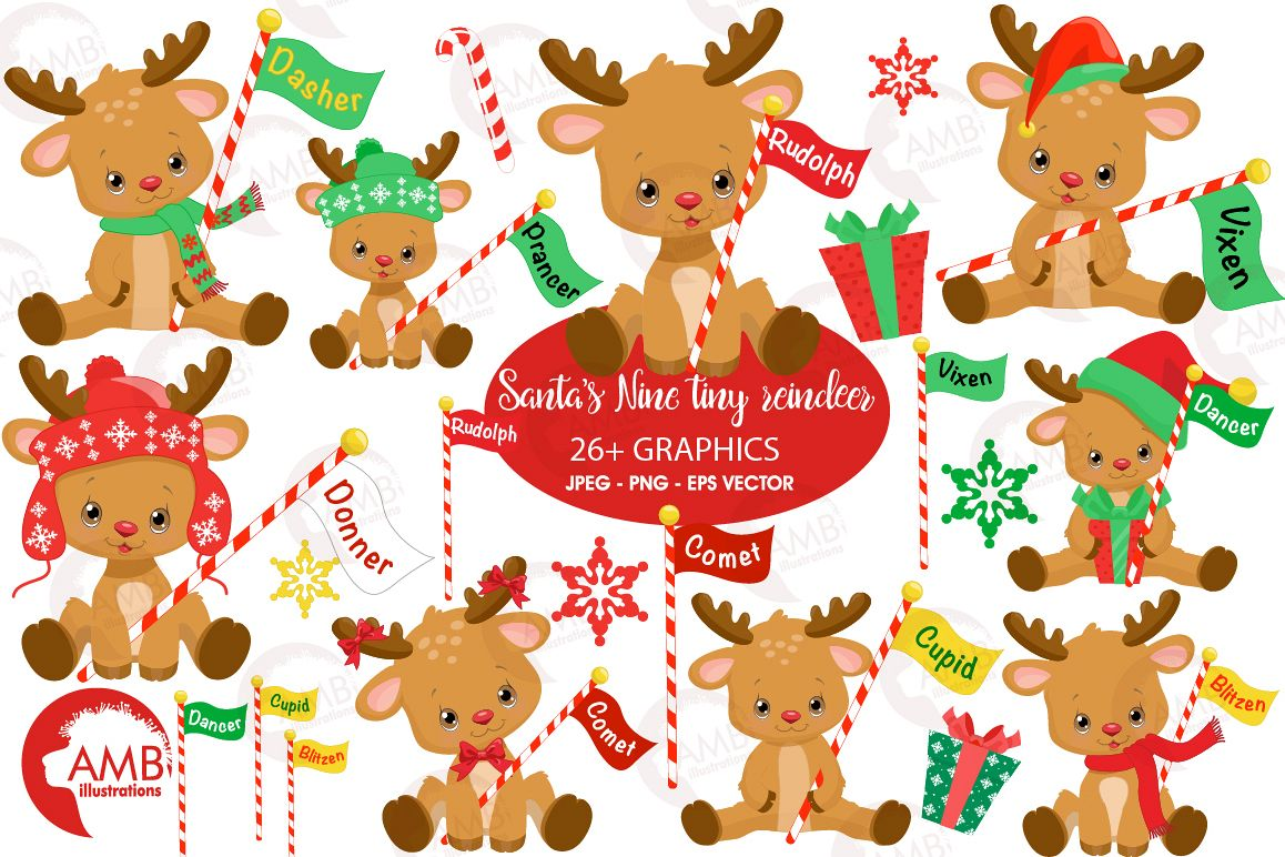 All of Santa's Reindeer clipart, graphics, illustrations AMB-2291 example image 1