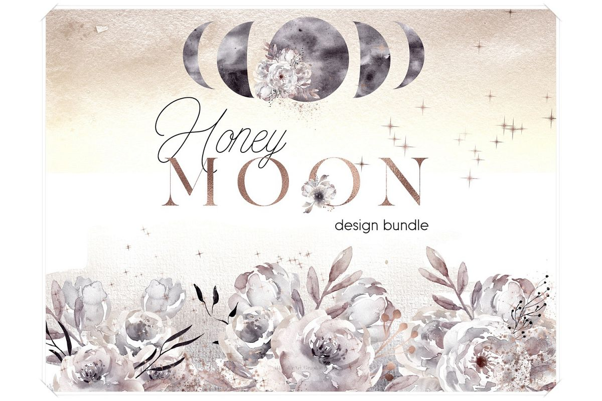 Watercolor Moon Phases Design Bundle example image 1