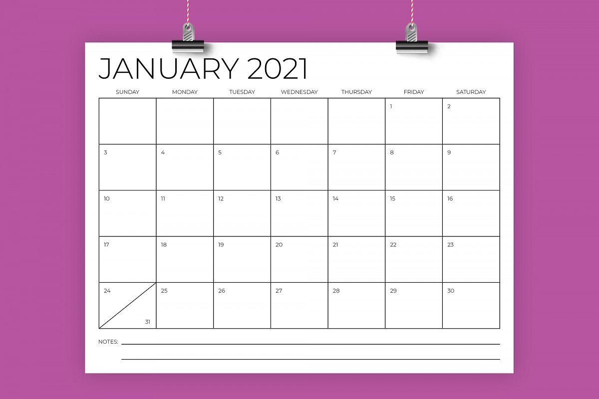 8.5 x 11 Inch Minimal 2021 Calendar example image 1