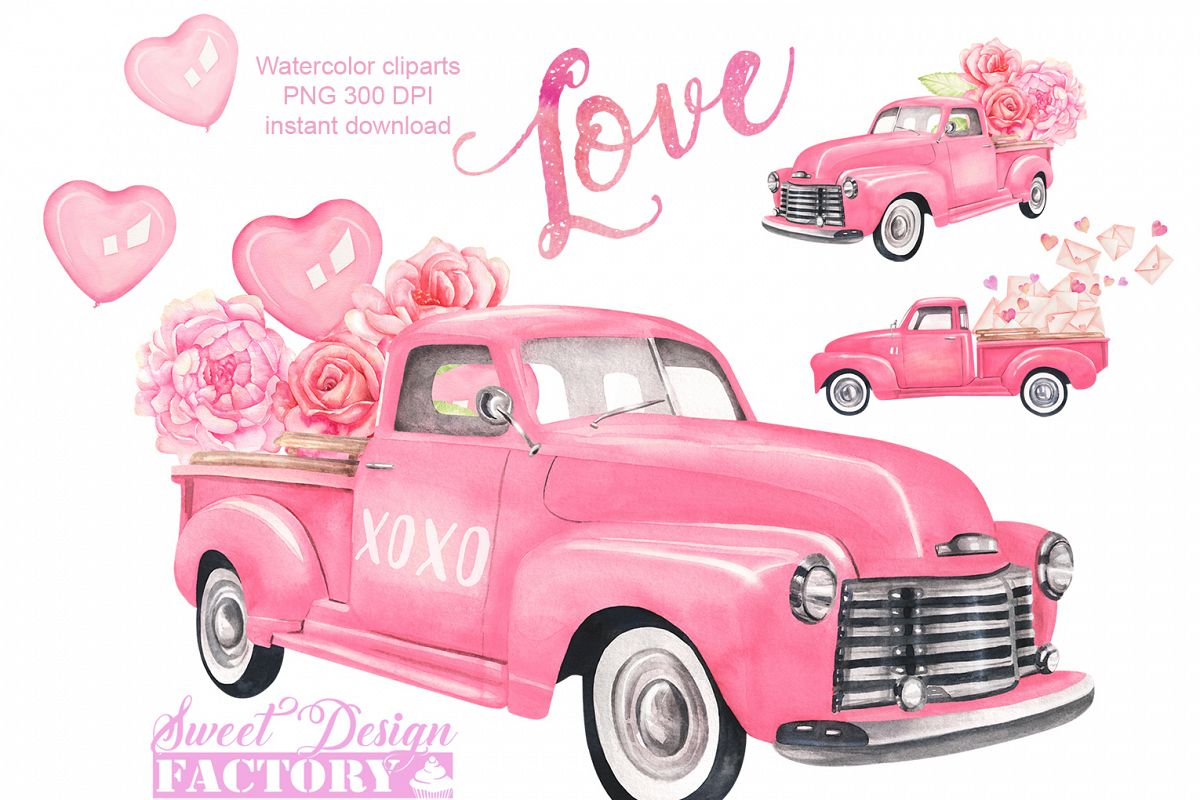 Valentine's day truck watercolor clipart example image 1