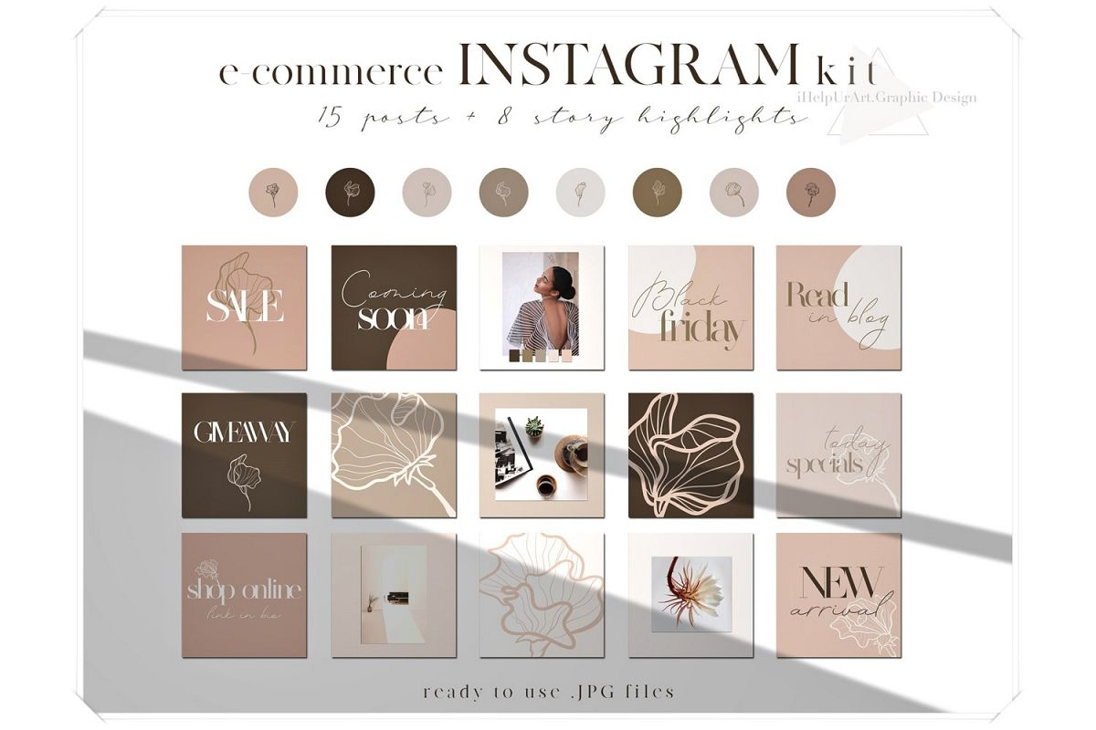 Blush Pink Instagram Posts Pack - eCommerce Instagram Layout example image 1