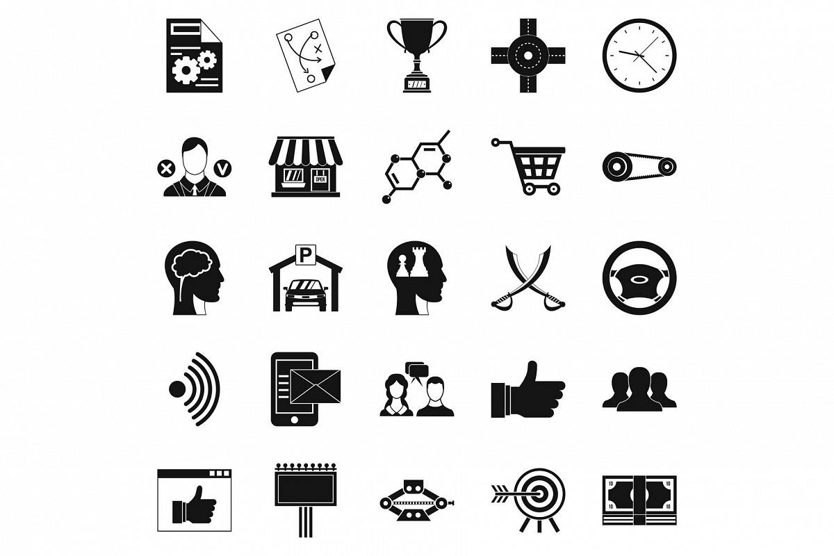 General director icons set, simple style example image 1