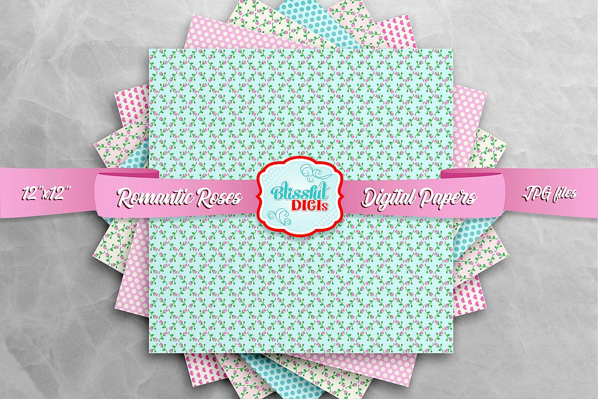 Digital Papers Bundle - Romantic Roses - JPG example image 1