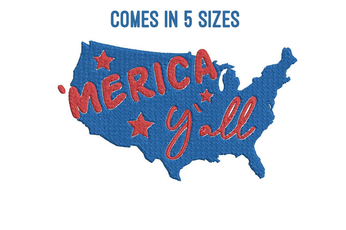Merica yall| Independence day | Machine embroidery| example image 1