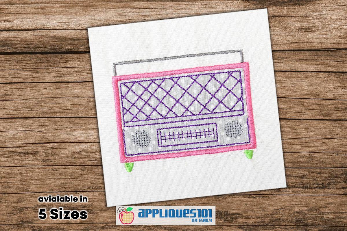 Radio Player Embroidery Applique Design - Radios example image 1