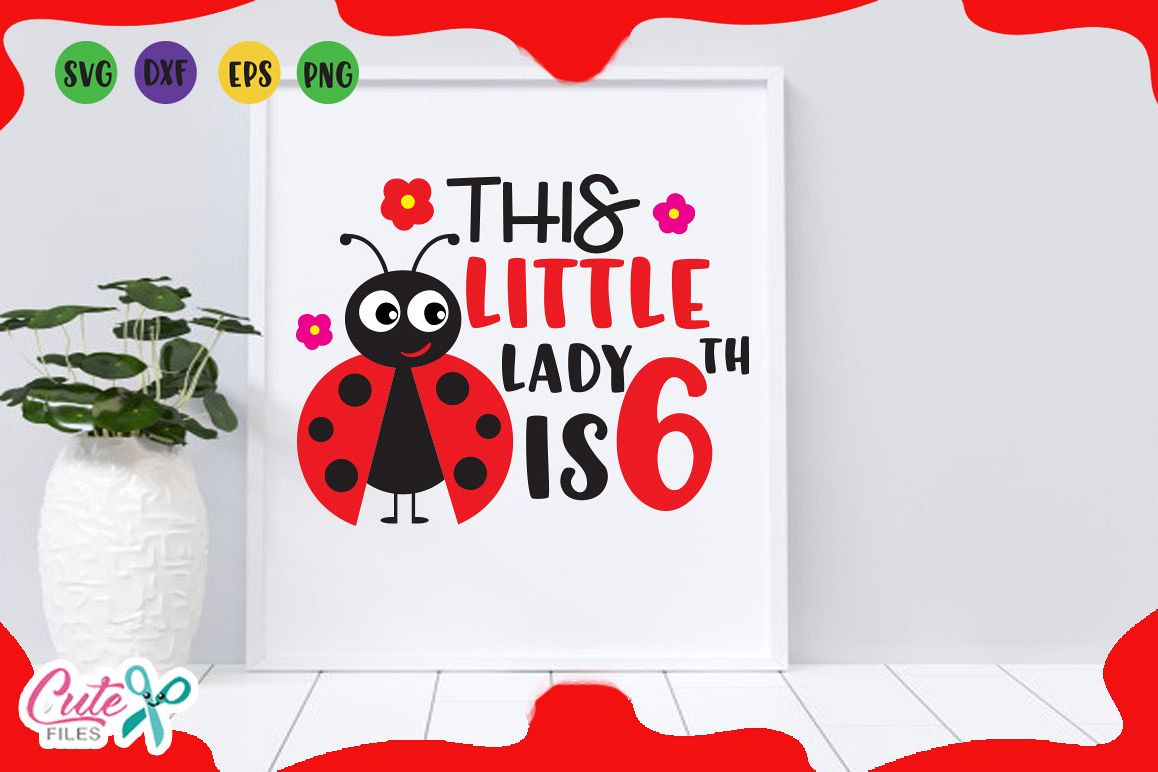 This Little Lady Is 6th Svg Love Bug Cut Files For Crafter