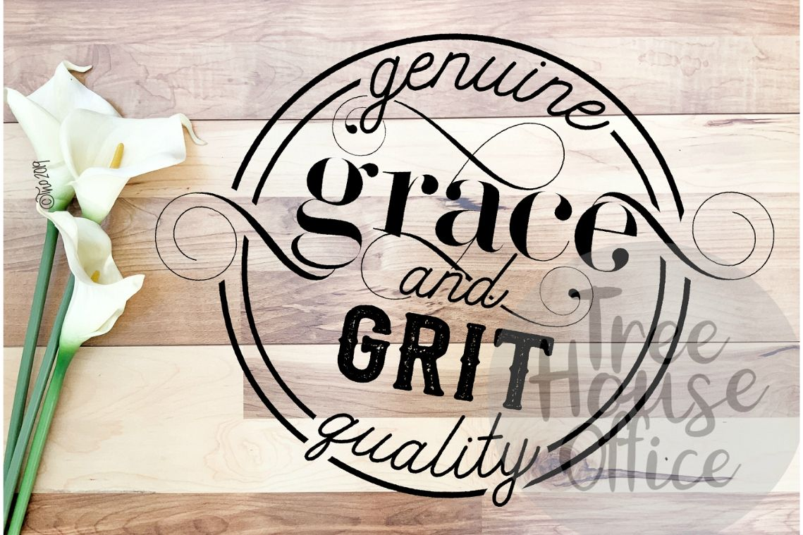 Grace and Grit Southern Faith Gratitude Saying SVG PNG JPEG example image 1
