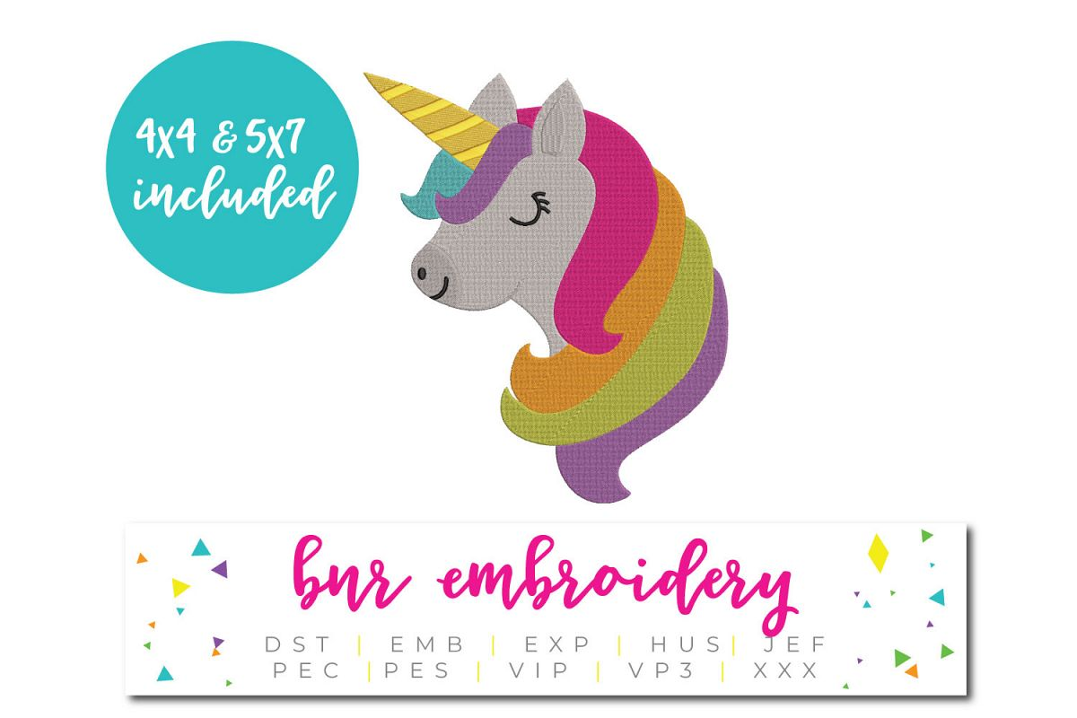 Unicorn Machine Embroidery Design, Animal Embroidery example image 1
