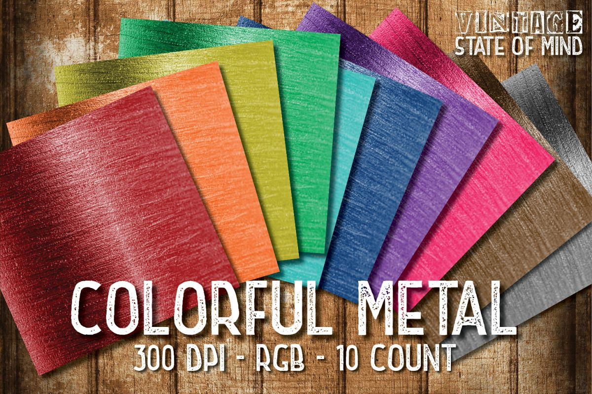 Colorful Metal Digital Papers example image 1