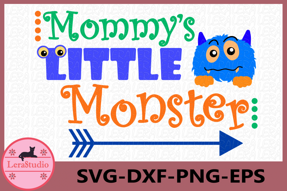 Mommy's Little Monster svg, Monster svg, Baby svg example image 1