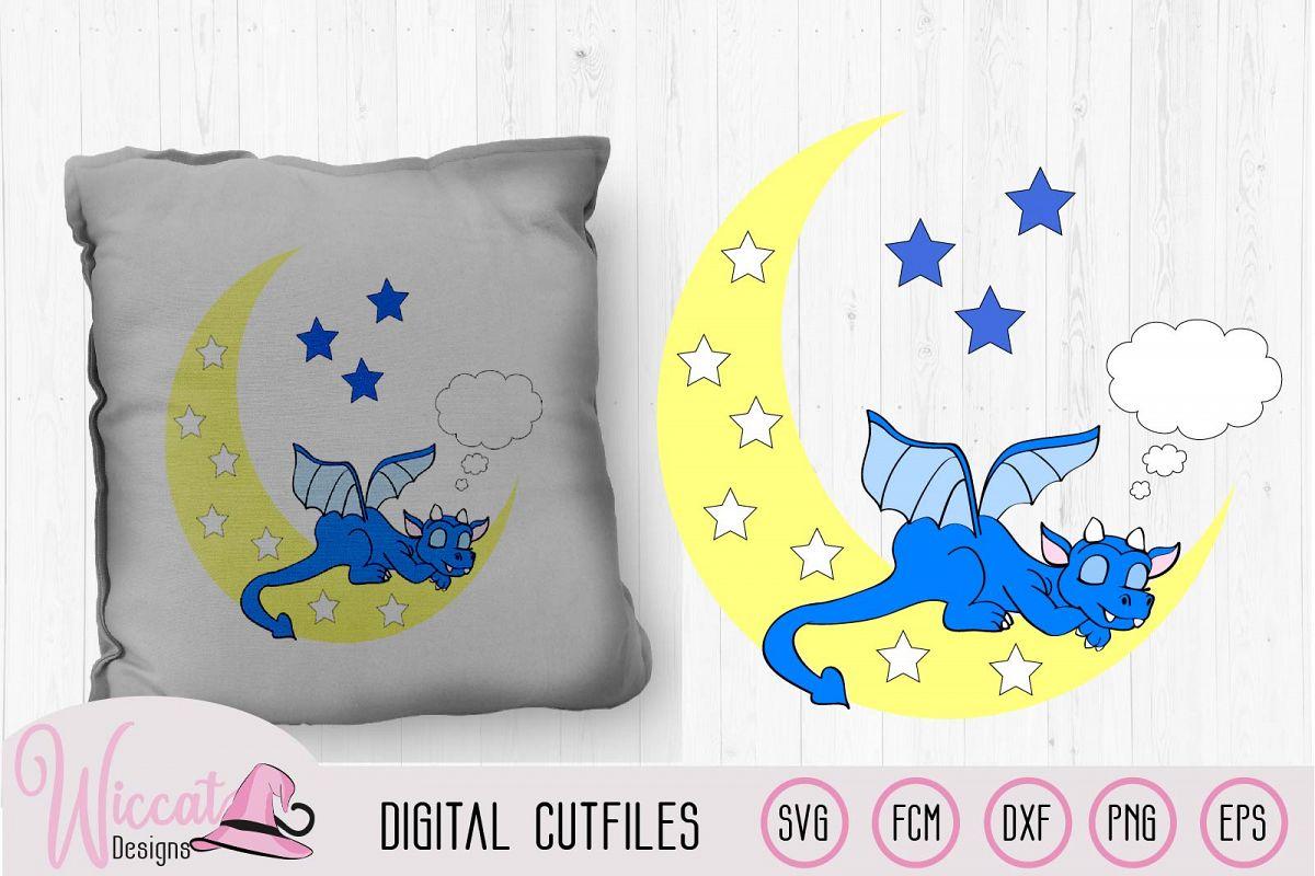 Sleeping dragon on the moon svg, nursery svg cut file example image 1