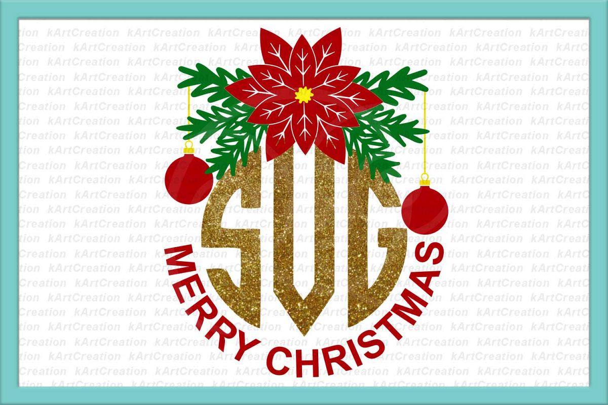 Christmas monogram svg, Merry Christmas circle monogram svg example image 1