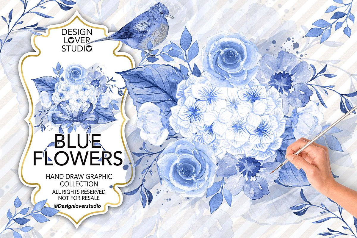 Watercolor BLUE FLOWERS design example image 1