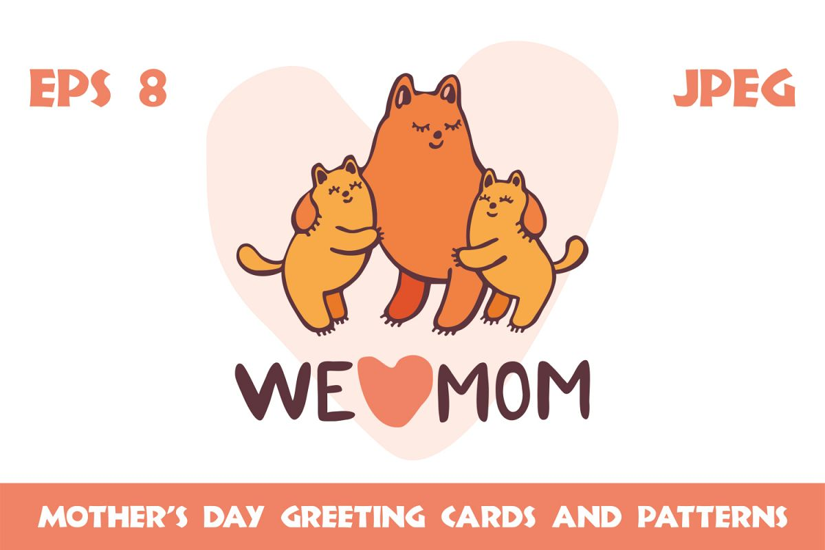 Funny cats. Mothers day greeting cards and patterns example image 1