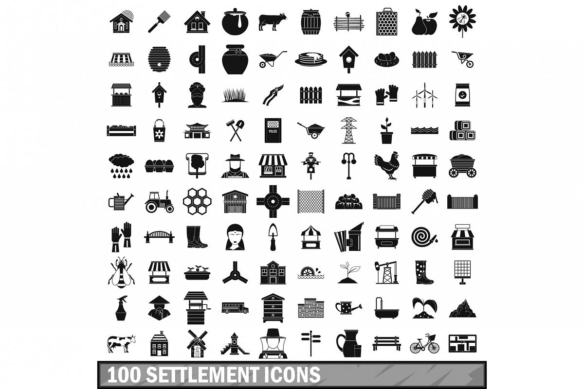 100 settlement icons set, simple style example image 1