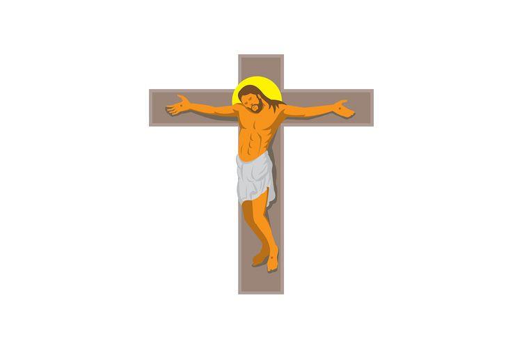 jesus christ on cross retro example image 1