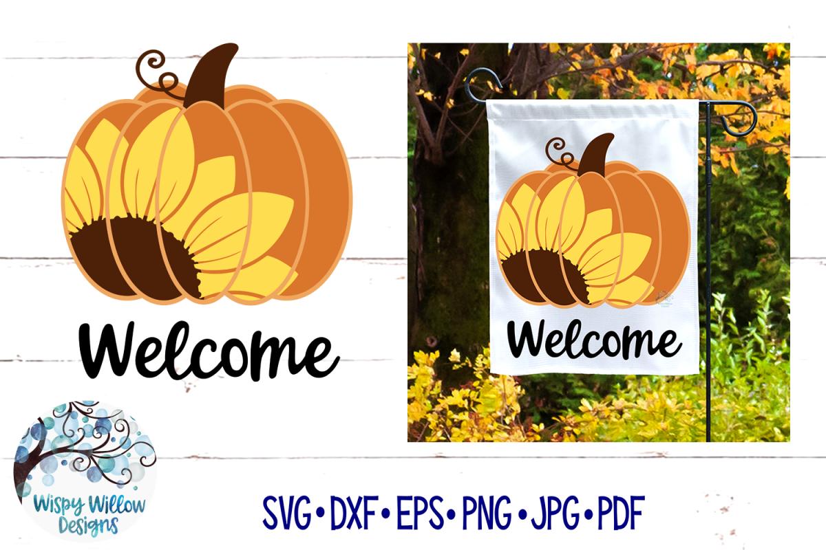 Welcome Sunflower Pumpkin SVG | Fall Pumpkin SVG Cut File example image 1