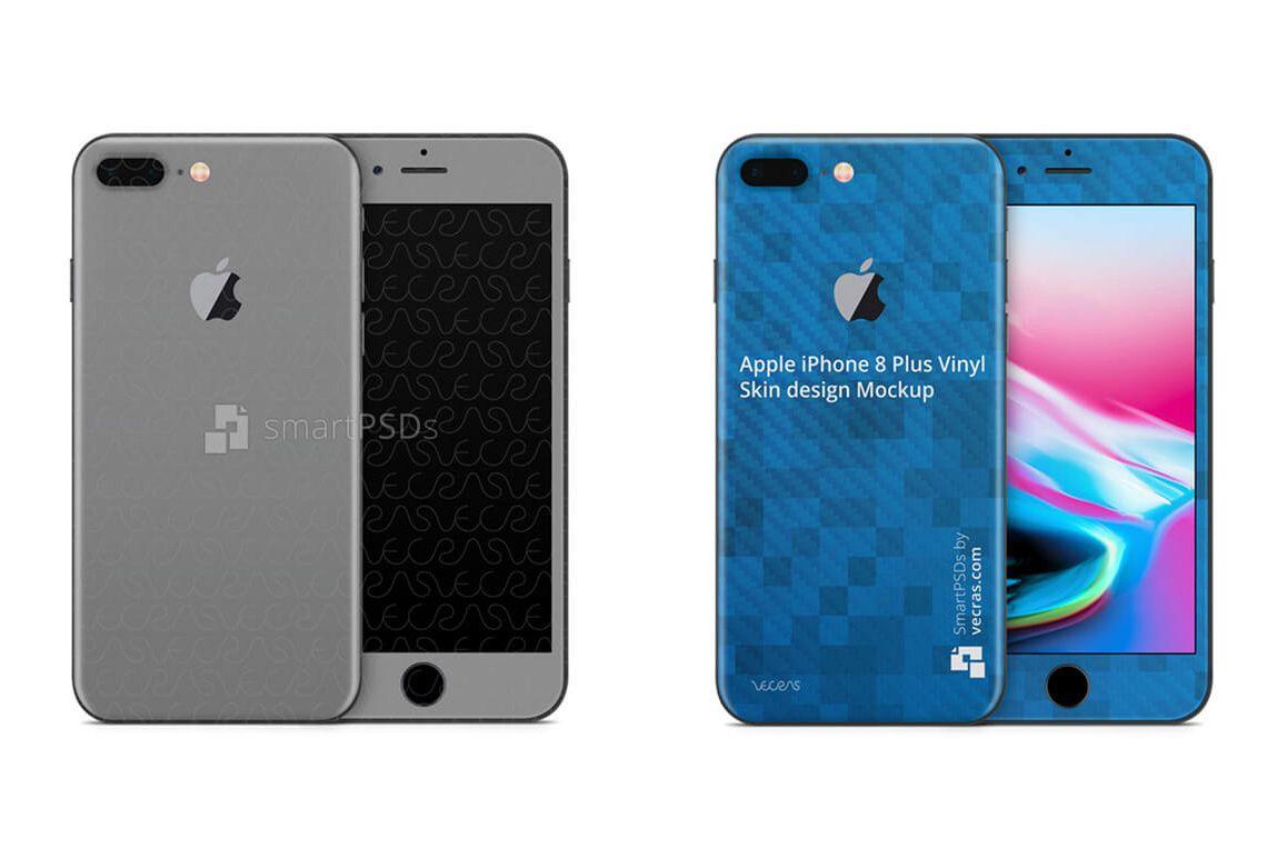 Apple iPhone 8 Plus Vinyl Skin Design Mockup 2017 example image 1