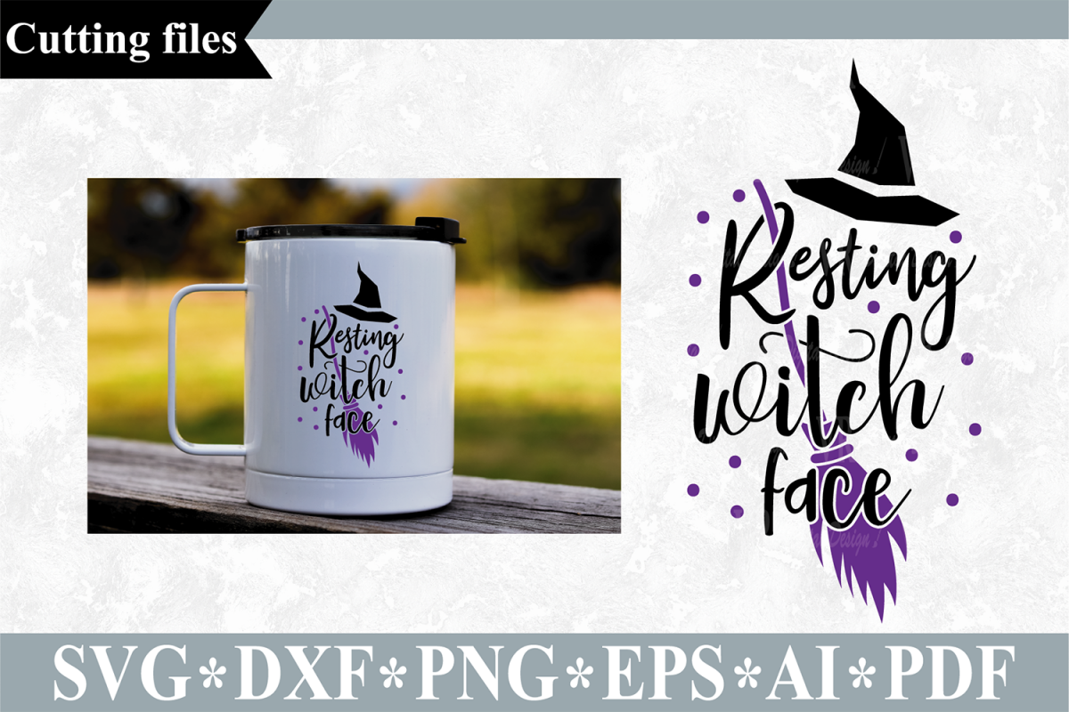 Resting witch face SVG, Halloween cut file example image 1