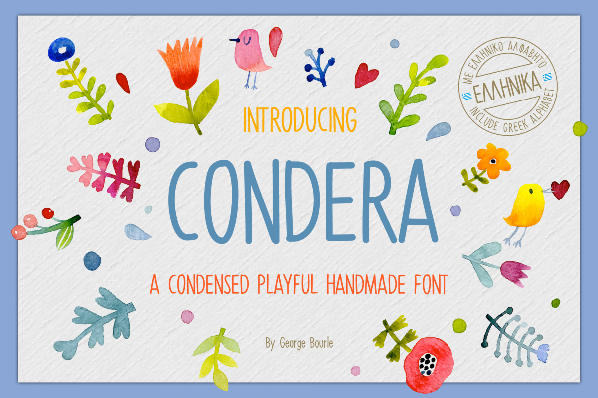 CONDERA CONDENSED HANDMADE FONT example image 1