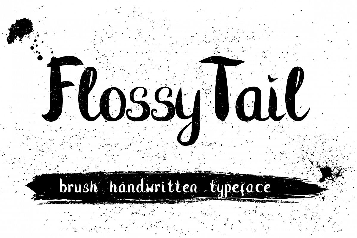 Flossy Tail brush handwritten font example image 1