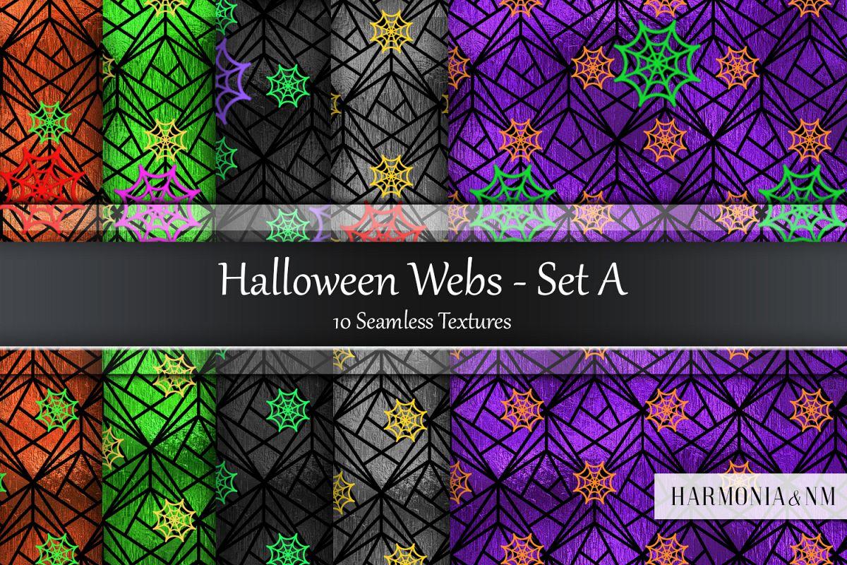 Halloween Webs Set A Seamless Textures example image 1
