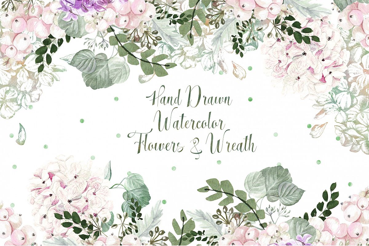 Hand Drawn Watercolor Flowers&Wreath example image 1