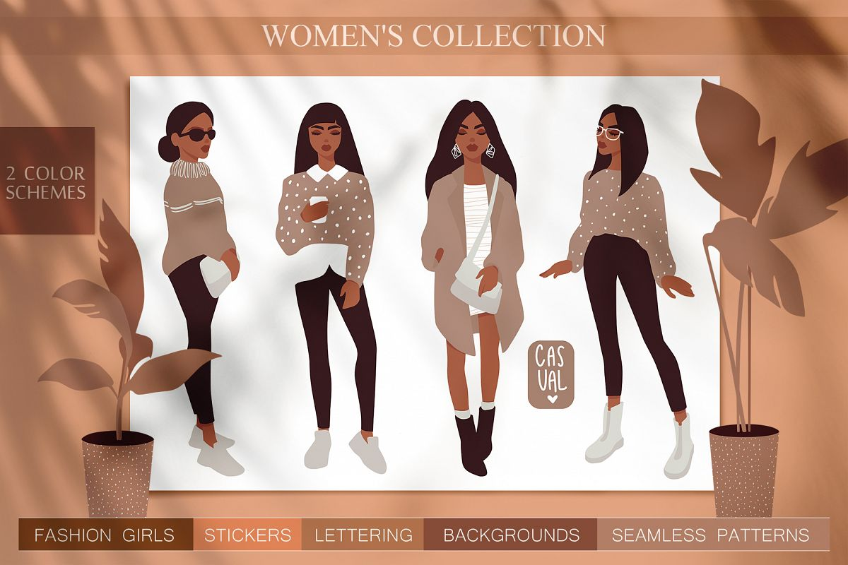 Women, girls fashion illustration example image 1