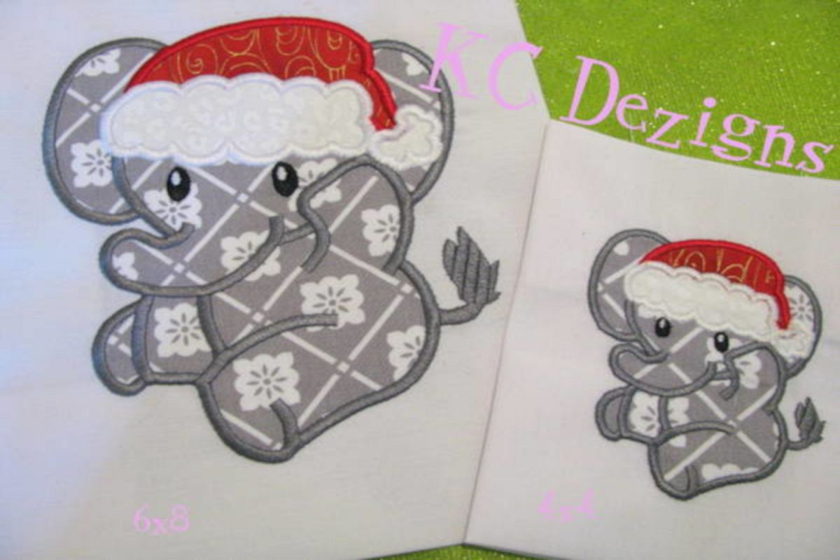 Christmas Baby Elephant Machine Applique Embroidery Design example image 1