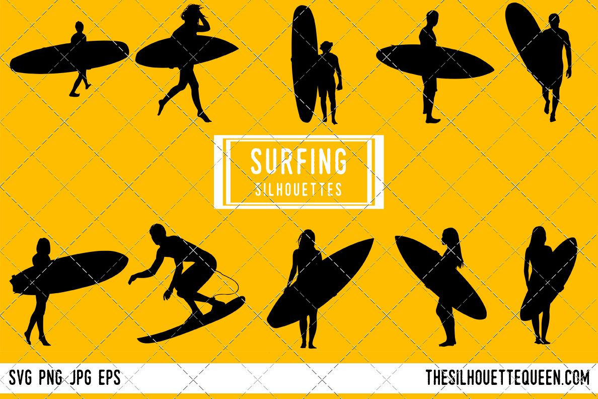 Surfing Silhouette Male Female Surfer Clipart Svg Png Eps