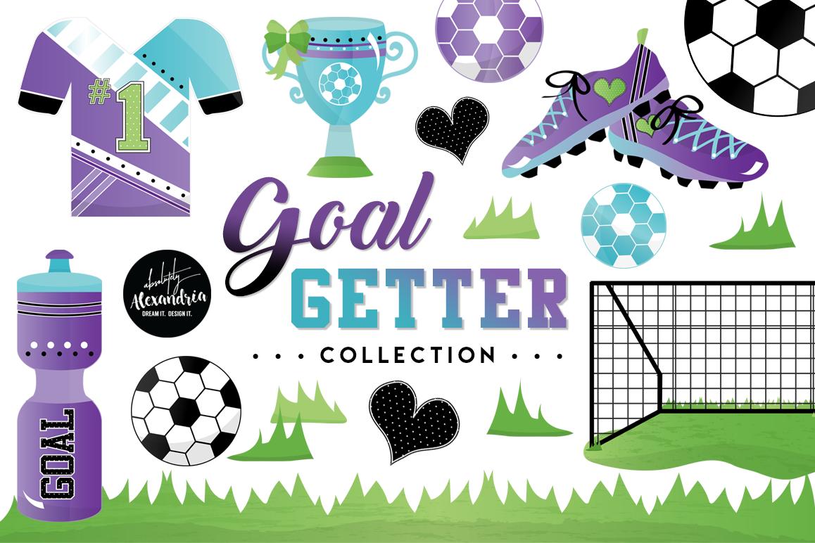 Goal Getter Clipart Graphics & Digital Paper Patterns Bundle example image 1