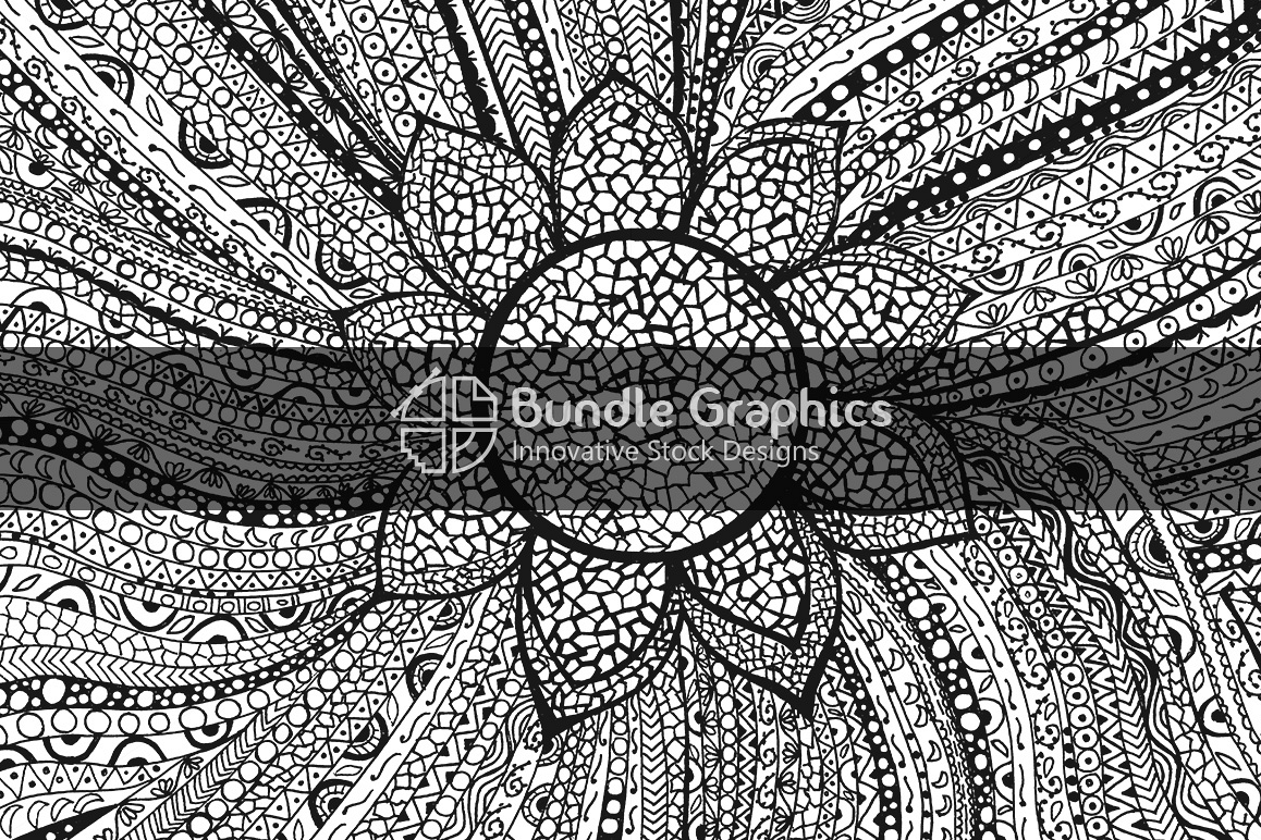 Tribal Linear Decorative Background - Handmade Ink Graphics example image 1