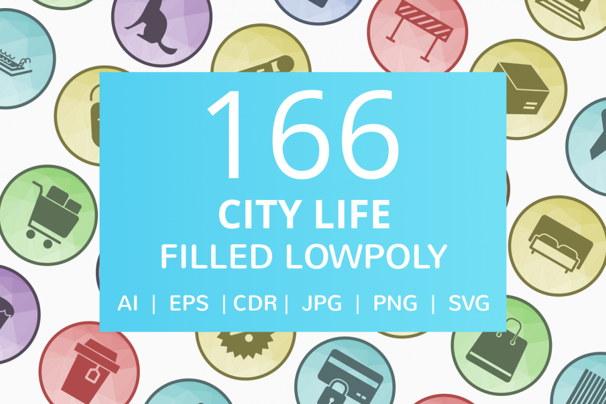 166 City Life Filled Low Poly Icons example image 1
