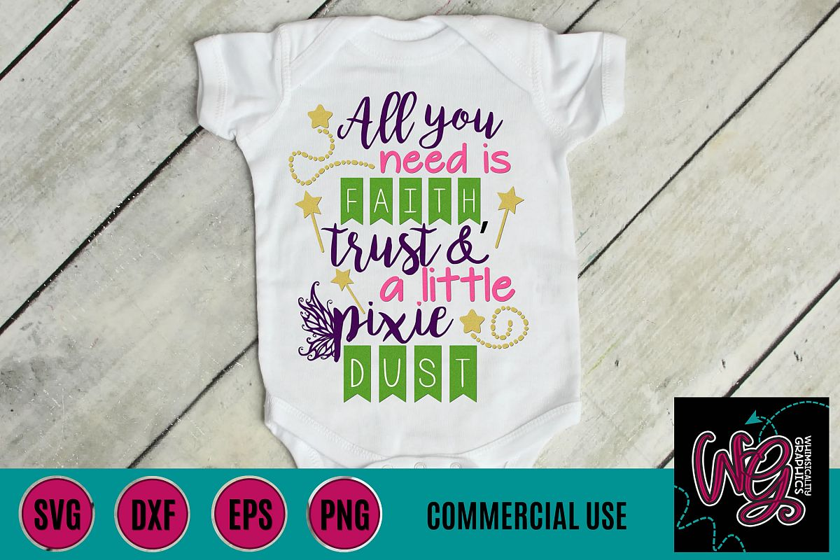 Faith Trust and Pixie Dust SVG DXF PNG EPS Commercial example image 1