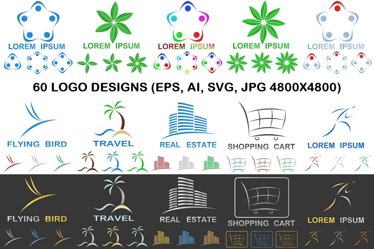 60 business logo designs (EPS, AI, SVG, JPG 4800x4800) example image 1
