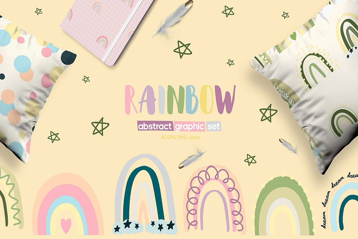 PASTEL RAINBOW. Abstract Graphic Set example image 1