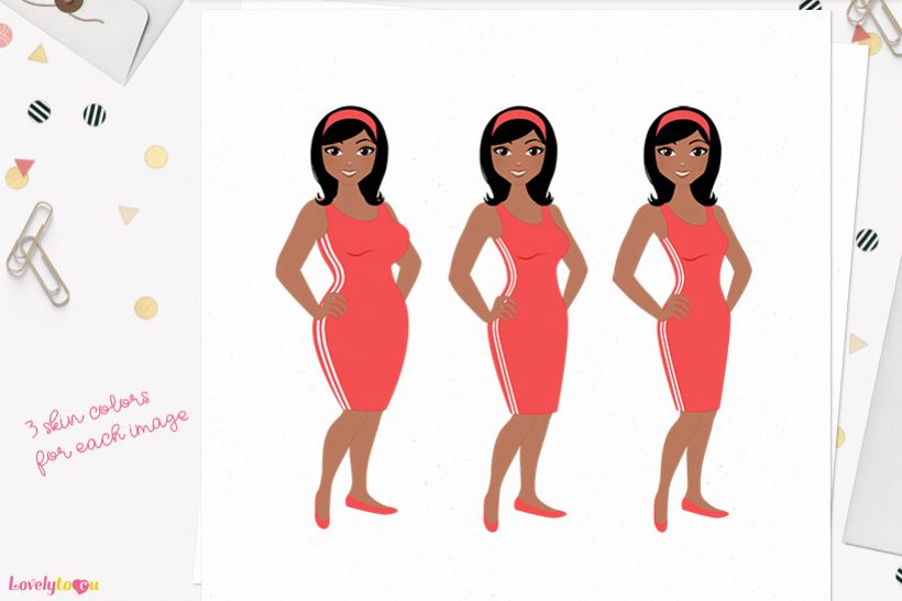 Woman weight loss character clip art L088 Wendy example image 1