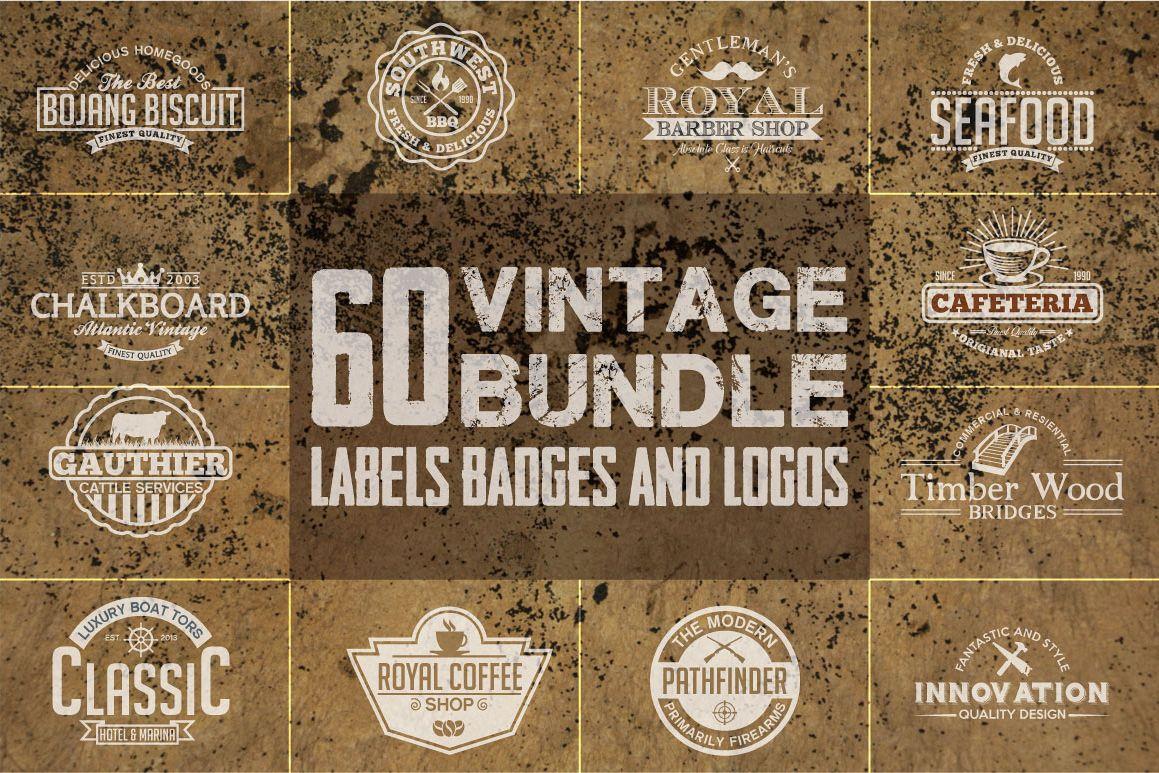 60 Vintage Bundle Logos Labels & Badges example image 1