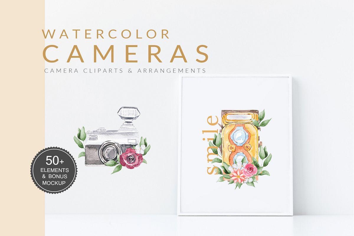 Watercolor Camera Clipart Vintage example image 1
